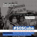 MacroManifestación #SosCuba en #Madrid, Convocatoria